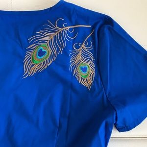 Jaanuu Tops - Peacock Embroidered Scrub Top By Jaanuu
